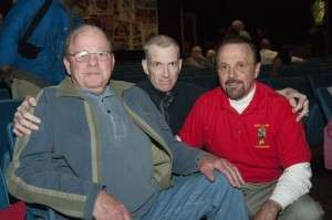 BRAVO! Marine Mike McCauley, Mark Spear and BRAVO! Marine Ron Rees at the April 2013 screening of BRAVO! in Moscow, ID © Betty Rodgers 2013