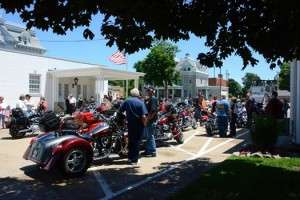 The scene at Staab Funeral Home in Springfield, just before the Ride in Honor bike run. Photo courtesy of Betty Rodgers.
