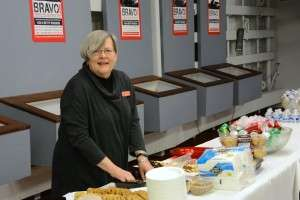 Carol Caldwell-Ewart manning the goody table on the SS Jeremiah O'Brien. Photo courtesy of Betty Rodgers