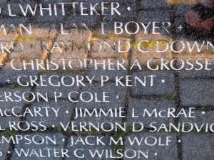 Panel at The Wall with the names of Greg Kent and Jimmie L McRae