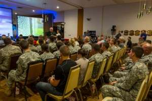 A member of the audience addressing the ROTC cadets at the screening of BRAVO! © Mike Shipman, Blue Planet Photography, 2014