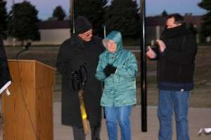The mayor of Liberty Lake and Greg Vercruysse's mother cutting the ribbon for the ceremony honoring Greg. © Dean Vercruysse 2014