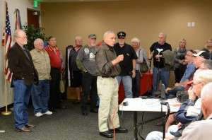 Skipper Ken Pipes addressing the audience at the Oceanside screening. © Betty Rodgers 2014