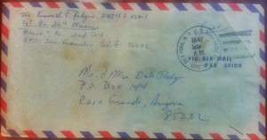 Envelope sent from Vietnam by the blogger to his parents. © Ken Rodgers 2014