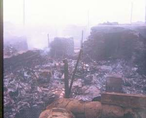 Burned out tent at Khe Sanh. Photo courtesy of Mac McNeeley.