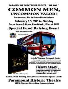 Poster for the screening of BRAVO! in Casa Grande, AZ on 1/15/2015