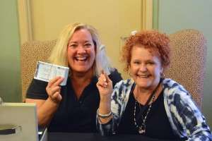 Two enthusiastic ladies selling tickets to the Casa Grande screening on 2-15-2015. Photo courtesy of Betty Rodgers