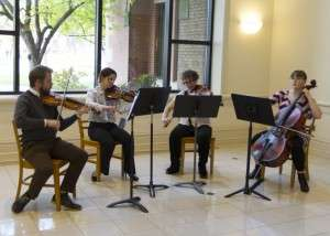 Chamber music quartet playing prior to the start of the Caldwell screening. © Mike Shipman 4-1-2015