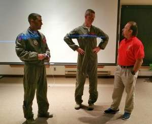 BRAVO! Marine Ron Rees, right, visits with Thunderbolt pilots.