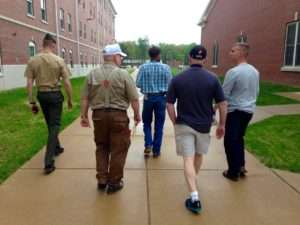On the way to The Hawk. Left to Right: Captain Joe Albano, Michael O'Hara, Daniel Folz, Ken Rodgers, Captain Josh White
