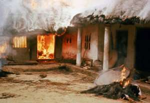 Houses burned by American soldiers during the My Lai massacre on March 16, 1968 in My Lai, South Vietnam.  (Photo by Ronald S. Haeberle)