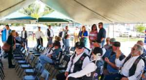 Beneath the awing before the start of the 9/11 ceremony at the Idaho Veterans Garden. Photo courtesy of Ken Rodgers.