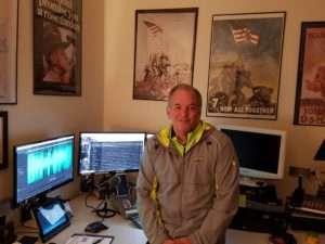 Mike McNamara in the studio at ALL MARINE RADIO. Photo courtesy of Mike McNamara.