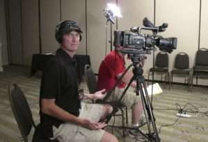 Mark Spear shooting an interview in San Antonio, 2010. Photo courtesy of Betty Rodgers